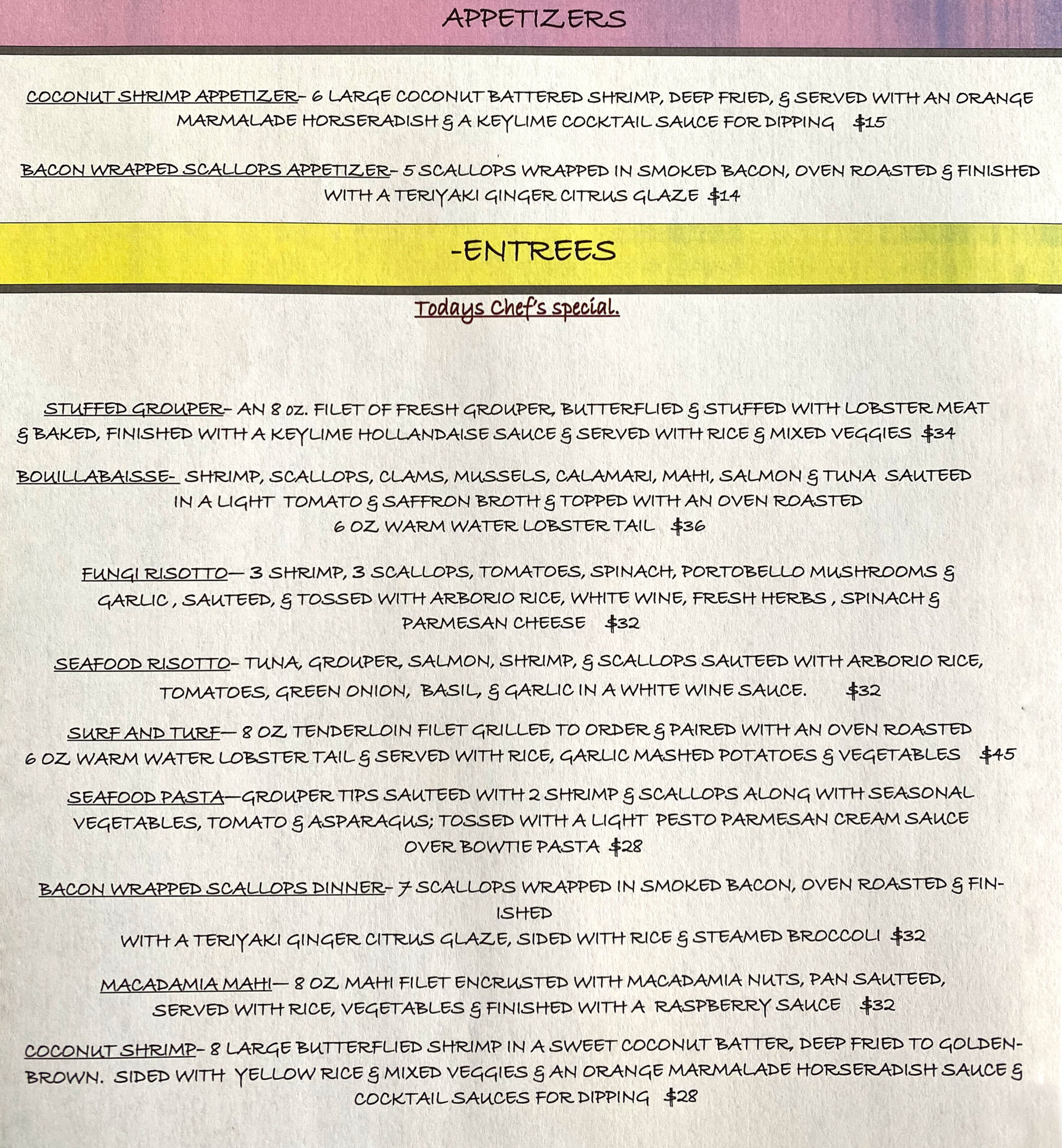 Keylime Bistro Restaurant Specials Menu | Restaurants on Captiva