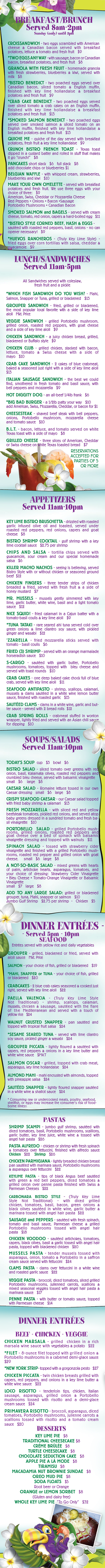 Keylime Bistro Restaurant Menu | Restaurants on Captiva